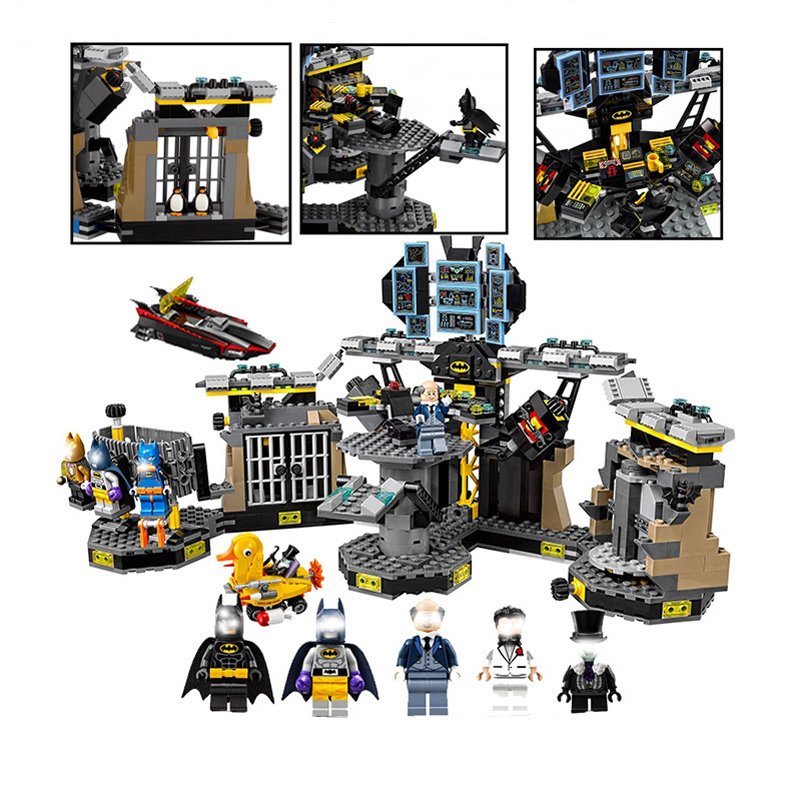07052 Movie Series Building Blocks Lepin Super Hero Break-in Batcave Batman Duck Car Education Toys For Children Christmas Gifts building blocks super heroes back to the future doc brown and marty mcfly with skateboard wolverine toys for children gift kf197