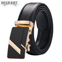 Best YBT Men Leather Strap Male Automatic Buckle Belts For Men Authentic Girdle Trend Men S