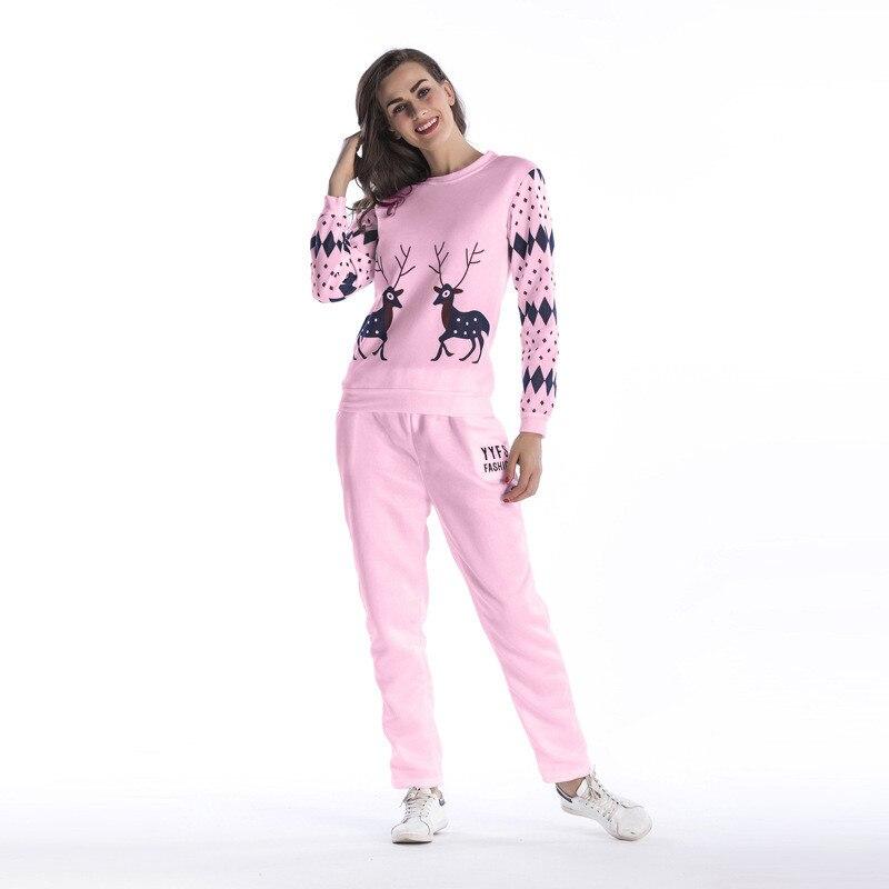 Echoine Women Two Piece Set Classic Tops O-Neck Letters Smiley Faces Elk Print Plus Size Pants Casual Street Sport Suits Clothes