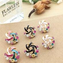 Best selling Korean fashion wool ladies temperament color crystal earrings wholesale