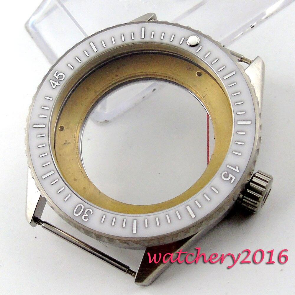 43mm beyaz seramik çerçeve safir kristal erkek saati Kılıf fit ETA 8205 2836 Hareketi