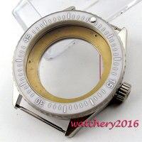 43mm weiß keramik lünette sapphire cystal herren Uhr Fall fit ETA 8205 2836 Bewegung