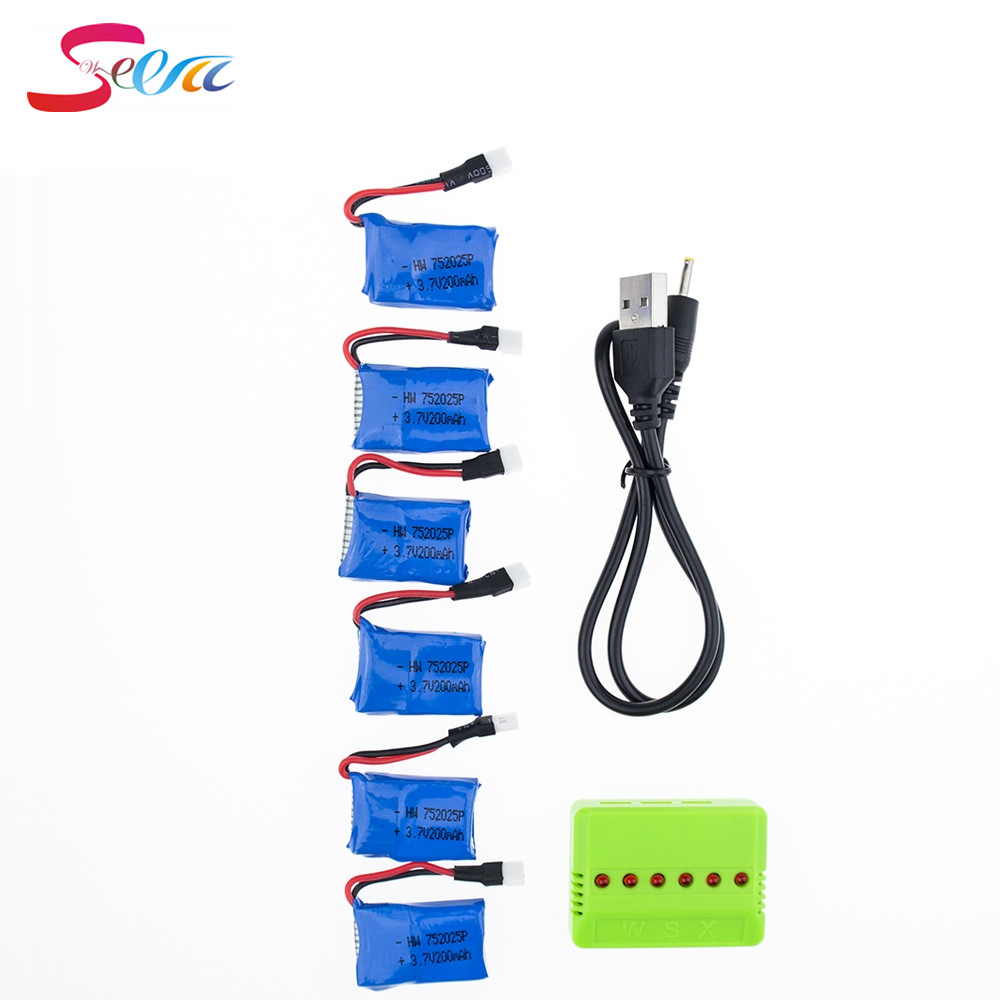 Syma X11 3.7V 200mAh 20C Battery 6pcs With 6in 1 USB Charger Set For Syma X4 X13 Quadcopter Helicopters RC Parts 3pcs battery and european regulation charger with 1 cable 3 line for mjx b3 helicopter 7 4v 1800mah 25c aircraft parts