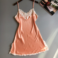 New Design Women Sexy Embroidery Night Gown Sleeveless Sleep Dress Home Clothes V Neck Lace Summer
