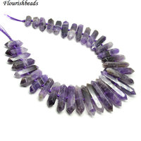 3 strnads High Quality Natural Amethyst Quartz Double Sides Point Pillar Graduated Stone Loose Beads