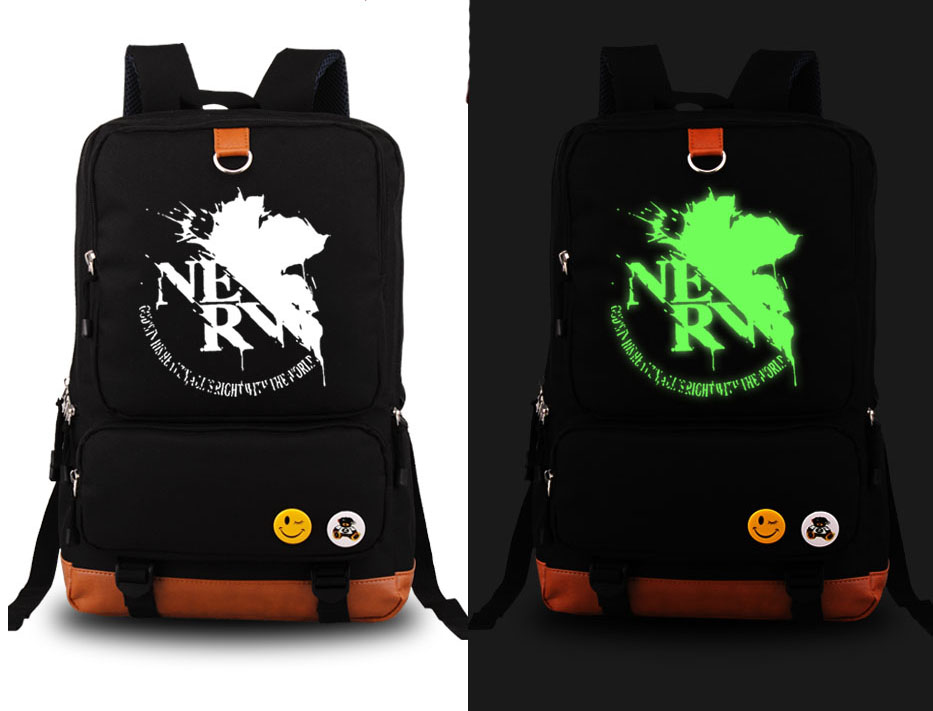 New Neon Genesis Evangelion Cosplay Backpack Anime EVA Canvas Student Luminous Schoolbag Unisex Travel Bags anime resident evil cosplay backpack anime umbrella canvas bag luminous schoolbag travel bags