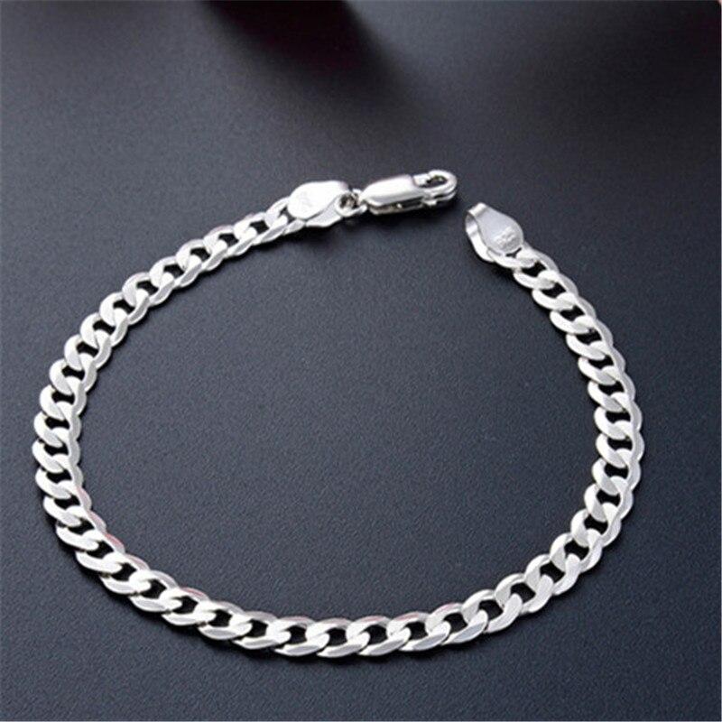 Simple homme 5mm, 6mm, 7mm largeur côté chaîne argent bracelet 925 hommes bijoux accessoires