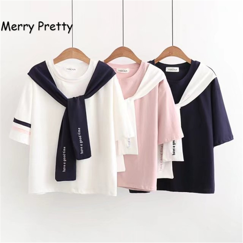 Merry Pretty Sailor T Shirt Women 2019 New Summer Japan Style Embroidery Crop Tshirts Short Sleeve Tie Bow Neck Cotton Crop Tops