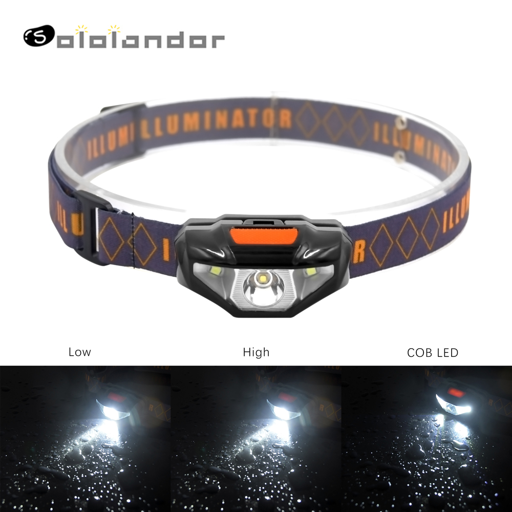 SOLOLANDOR LED Outdoor Headlamp Light Weight Motile Headlight 3 Modes  By AA Battery For Hiking Camping Outdoor Reading Run