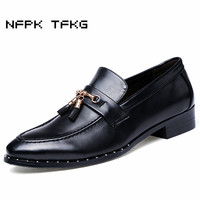 Italian Design Men Casual Wedding Party Dresses Breathable Genuine Leather Rivet Shoes Slip On Lazy Driving