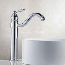 Полированный Хром Латунь Гусиная Шея Одной Ручкой Поворотный Кухня Ванная Раковина Бассейна Кран Смесители anf210