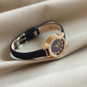 Image 3 - Dame frauen Uhr Julius Japan Quarz Stunden Uhr Mode Leder Armband Shell Strass Geburtstag Mädchen Weihnachten Geschenk