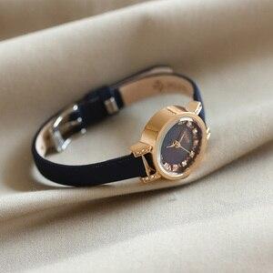 Image 3 - Женские часы Julius Japan, кварцевые часы, модный кожаный браслет, стразы, подарок на день рождения, Рождество