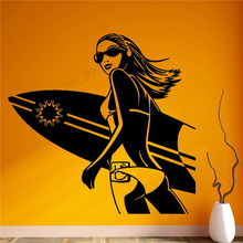 Wall Art Sticker Extreme Sports Excited Sexy Girl Surf Room Decoration Vinyl Removeable Mural Beautiful Ornament LY440