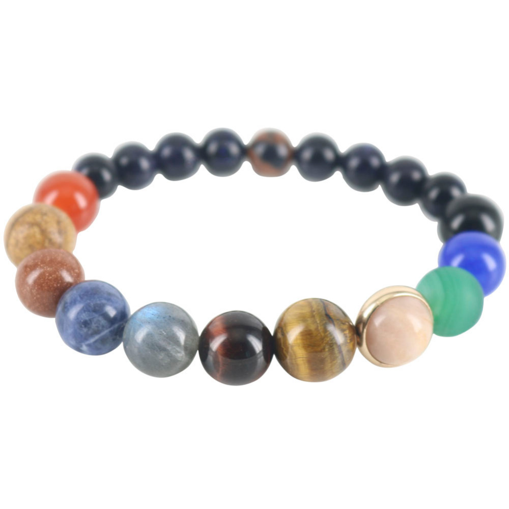 цена на Men Beaded Strand Bracelets Universe Galaxy Planets Star Bracelets & Bangles Earth Natural Stones Powerful Couple Jewelry