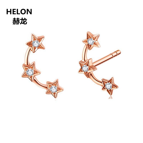 Solid 14k Rose Gold Natural Diamonds Stud Earrings Stars Women Earrings Trendy Fine Jewelry solid 14k rose gold 100
