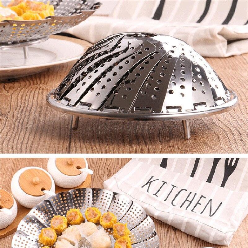 2019 Cookware Stainless Steaming Food Basket Mesh Stainless Steamer Folding Food Fruit Vegetable Vapor Cooker Dish Steamer