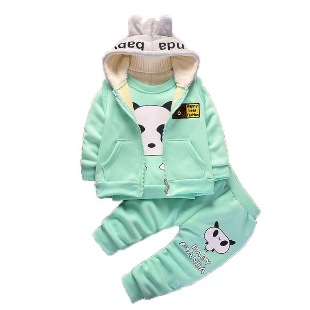 2ad865328cb4 Baby clothing sets children cartoon Panda winter cotton fleece wool ...