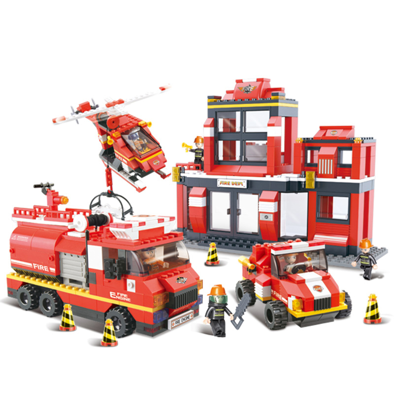 0226 SLUBAN Fire Rescue Operation Head Fire Station Model Building Blocks Enlighten Figure Toys For Children Compatible Legoe sluban 2500 block vehicle maintenance repair station 414pcs diy educational building toys for children compatible legoe
