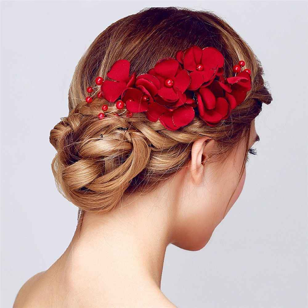 1PC Fashion Red Flower Hair Comb Bridesmaid Crystal Hair Clip Bridal Hairpin Wedding Hair Jewelry For Women Party Hairband