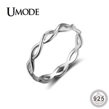 UMODE 2019 New 925 Sterling Silver Cross Braided Rings for Women Fashion Polished Ring Double Twisted Jewelry ALR0468