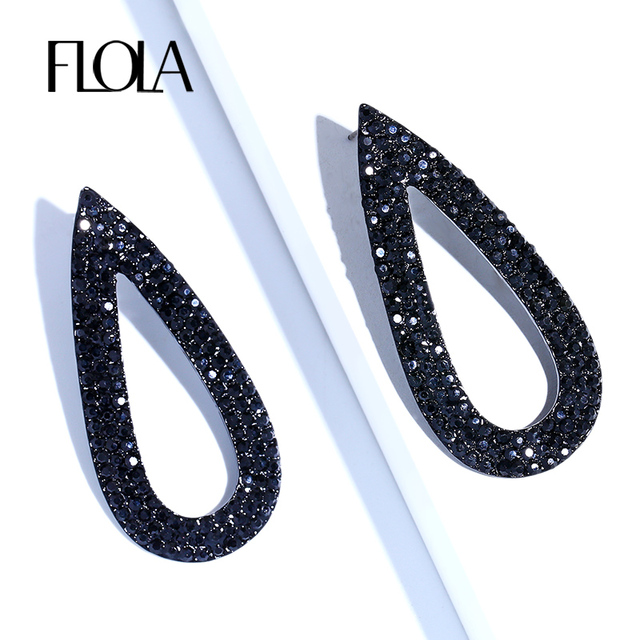 Flola Gothic Jewelry Black Drop Earrings Women Teardrop Large For S Long