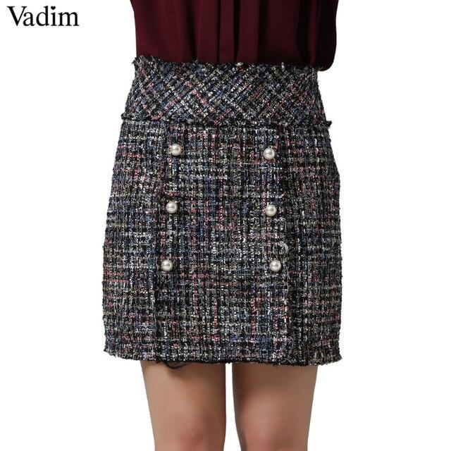 Vadim mujeres perlas armadura mini falda vintage faldas mujer con cremallera lateral de moda de estilo europeo streetwear faldas chic BSQ650