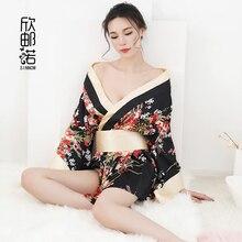 цена на 2018 new spring and sunmmer Printed Satin Pajama Bathrobe Kimono Japanese  3/4 Sleeve Sexy Bow tie kimono pajamas
