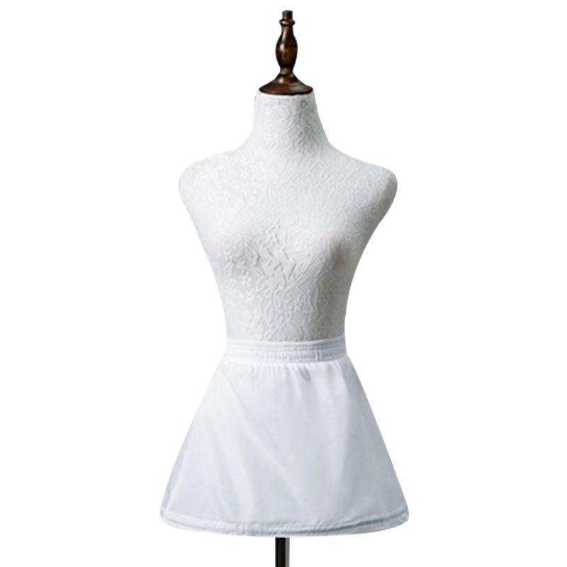 Children Flower Girl Vintage Short White Petticoat Ballet Bubble Tutu Skirt Underskirt 1 Hoop 1 Layer Half Slip Elastic Waist