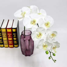 Flone Artificial Phalaenopsis Orchid Flower Real Touch Fake Red Butterfly Orchid Artificial Flowers Plants Wedding Home Decor