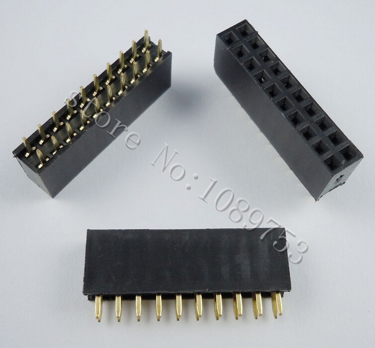 100pcs 2x10 Pin 2.54mm Double Row Female Pin Header 20P PCB Socket Connector connector hr25 9tp 20p 72