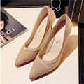 2017 spring new pointed suede high heels sharp  with a single shoe nude stitching sexy shoes for party .DFGD-2218