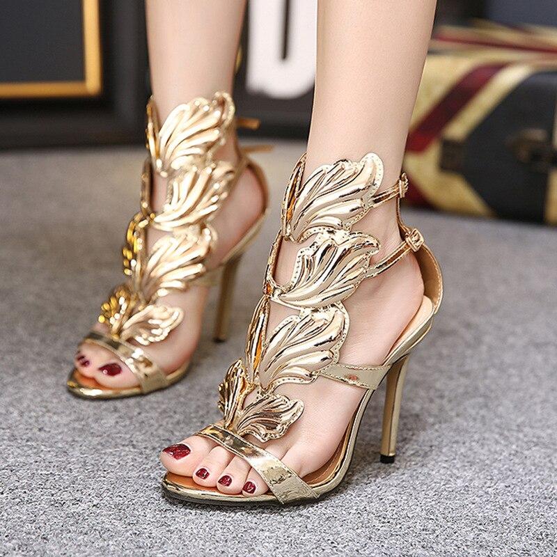 Beige Señoras Hojas Tacones Del De Sandalias Mujeres Diseño gold Alas Talón Partido Oro Con Llama Delgadas black Zapatos Gladiador Xingdeng Recortes Sandalia Alto ESRwqYPx