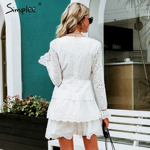 Image 4 - Simplee Hollow out cotton embroidery ruffled women dress A line v neck long sleeve female sexy dress Elegant party midi dress