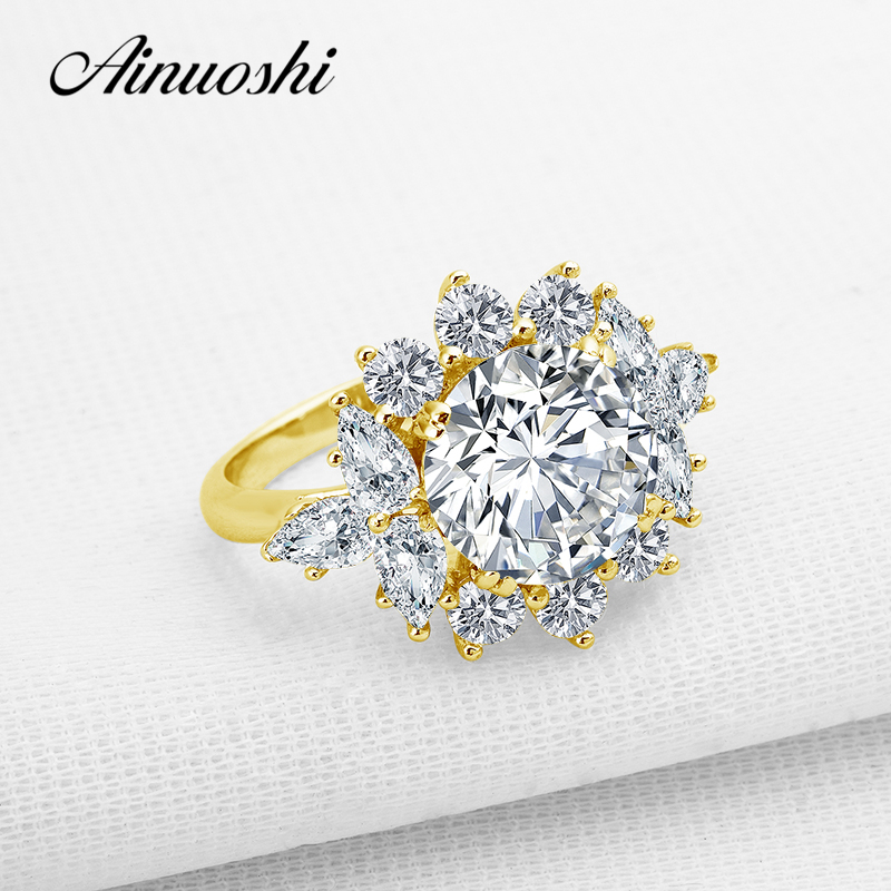 AINUOSHI 10k Solid Yellow Gold Women Engagement Ring 3.5 ct Round Cut Simulated Diamond Shiny Luxury Flower Shape Wedding Ring noble simple style round flower shape cuff ring for women