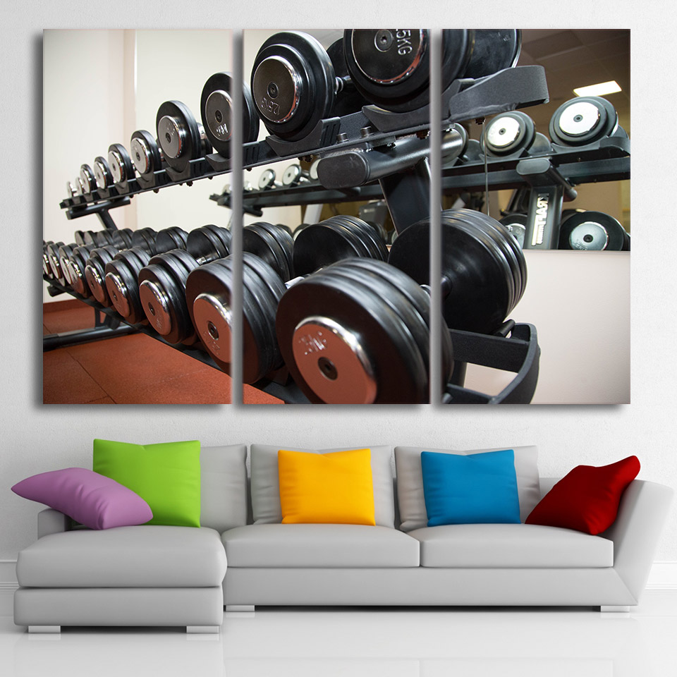 Modern Pictures Frame Living Room Wall Art HD Printed Home Decor 3 Pieces Gym Dumbbells Fitness Equipment Painting Canvas Poster