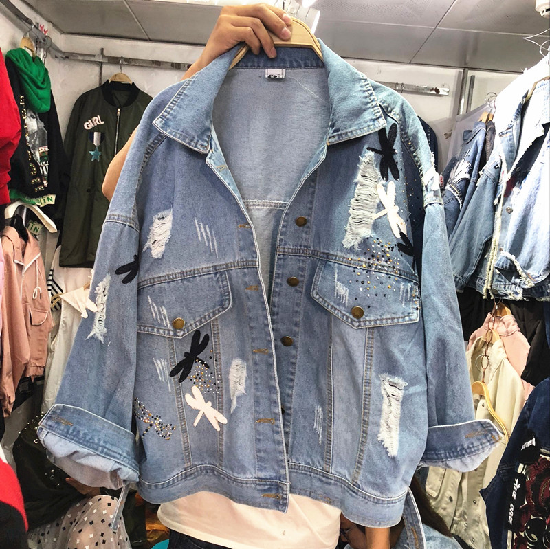 2018 New Autumn Women's Holes Jeans Jacket Female Casual Dragonfly Patch Loose Denim Coat All-match Long Sleeve Outwear 2
