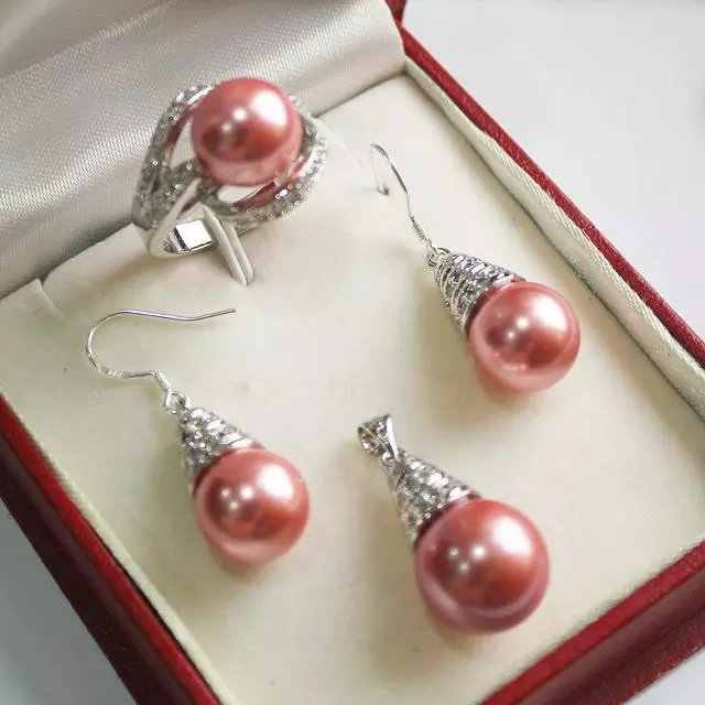 Atacado conjuntos de jóias para as mulheres choker anime casamento charme 12mm vermelho shell pérola pingente de colar conjunto brincos anel
