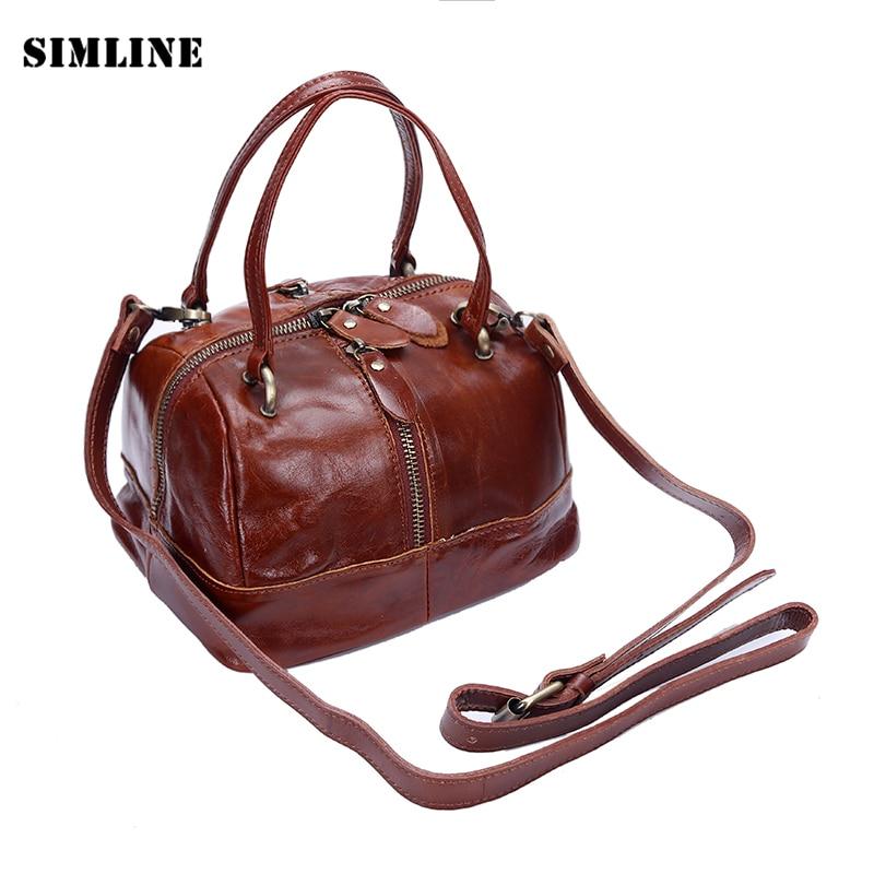 ФОТО Luxury Brand Vintage Casual 100% Genuine Oil Wax Leather Cowhide Women Small Tote Handbag Messenger Shoulder Bag Bags For Ladies
