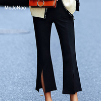 MOJONOO Casual Autumn Trousers For Women Flare Pants High Waist Stretch Slim Black Ankle Length Wide