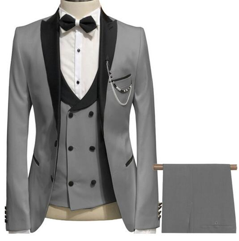 Elegante Grijze Mannen Pak Prom Smoking Slim Fit 3 Stuk (Jas + Vest + Broek) bruidegom Wedding Suits Voor Mannen Custom Blazer