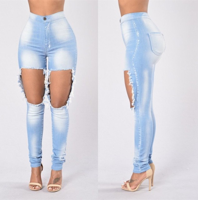 1a65eb9976 QA846 Hot sale women's hole bleached high waist jeans fashion boyfriend jeans  skinny denim pants big size