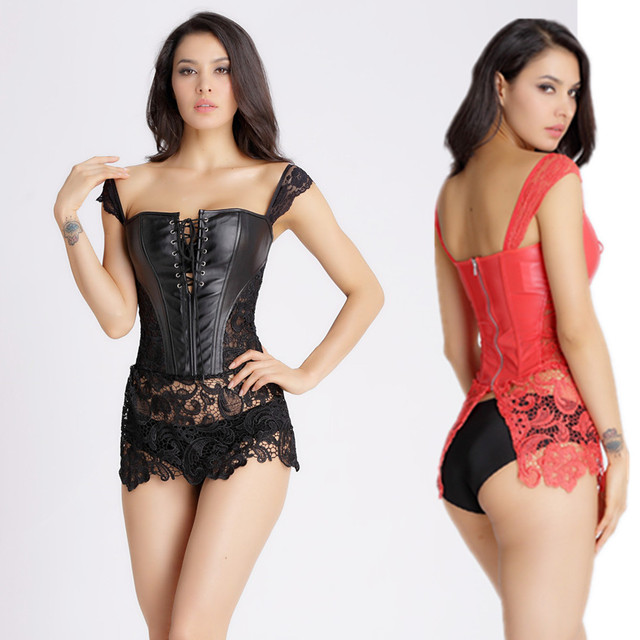 d417d4f6b9 Hot sell Corsage Steampunk Leather Corset Dress Sexy Corsets and Bustiers  with Zipper Gothic Bustier Plus Size Modeling Strap