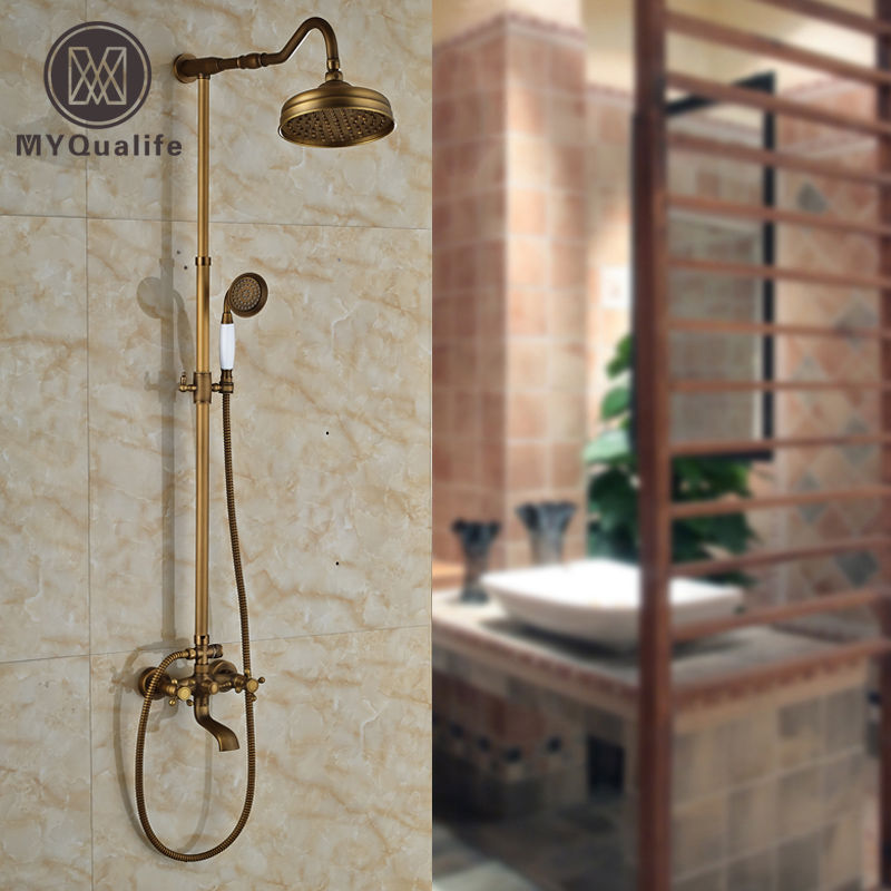 Best Quality Exposed Shower Faucet Set Dual Handles Bath and Shower Complete Mixer Taps with 8 Rainfall Shower Head