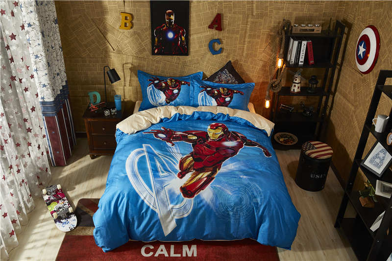printed bed set cotton iron man bed sheet single twin full queen size comforter kids pillowcases boys duvet cover home textile