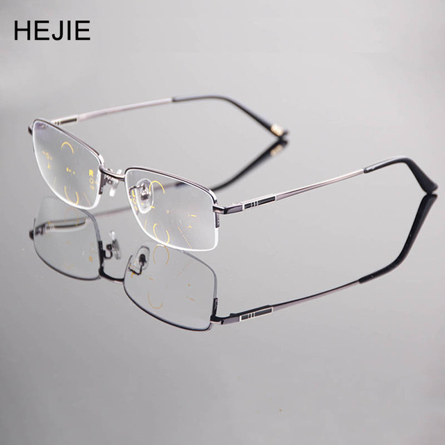 8d6c824fb8d2 Fashion Men Alloy Free Form Inner Multifocal Progressive Reading Glasses  Rectangle Half Rim High Quality Diopter