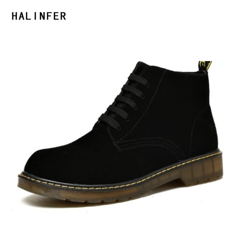HALINFER work boots for men genuine leather fashion solid martin boots Casual ankle boots