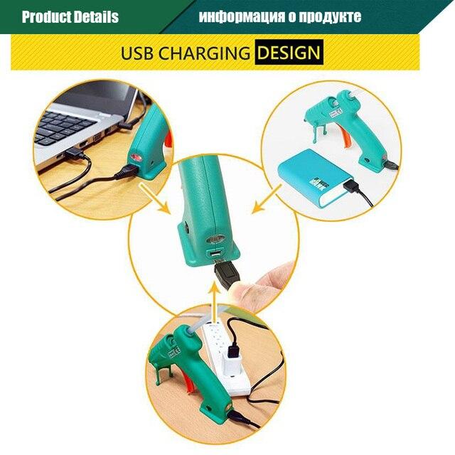 Proskit pistolet à colle thermofusible sans fil Rechargeable USB chauffage rapide maison classe bricolage outils électriques avec des bâtons de colle pour les enfants adultes