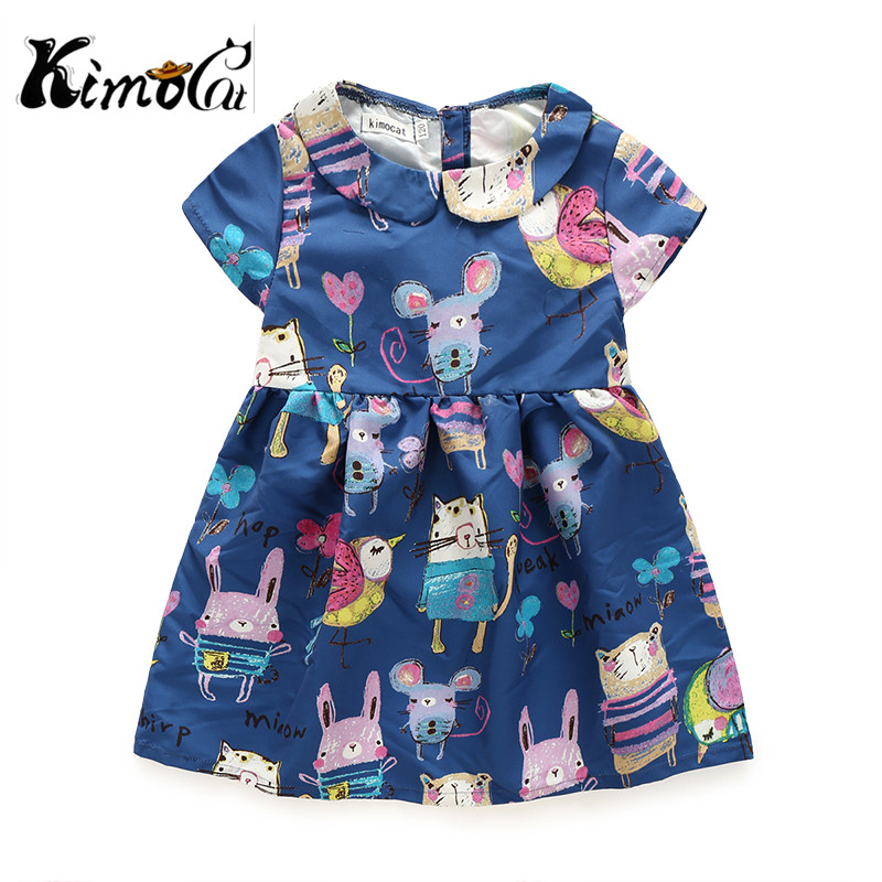 Kimocat new next summer  children's clothing baby girl cartoon printing princess girls dress with short sleeves rendell ruth the girl next door