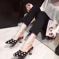 Boussac Vintage Square Toe Polka Dot Women Mules Metal Geometric Heel Women Pumps Shoes Elegant High Heels Ladies Shoes SWB0165